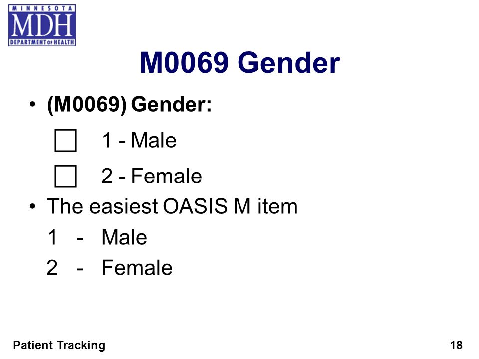 M0069 Gender (M0069) Gender: ⃞ 1 - Male ⃞ 2 - Female