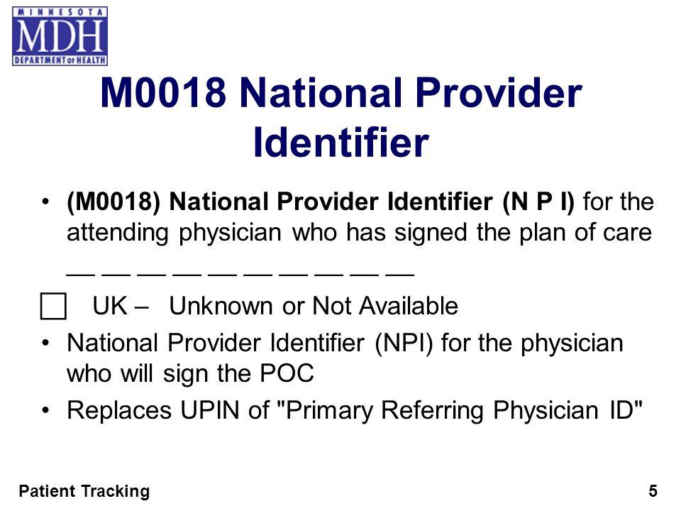 M0018 National Provider Identifier