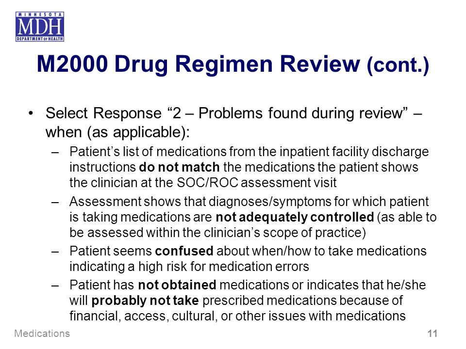 M2000 Drug Regimen Review (cont.)