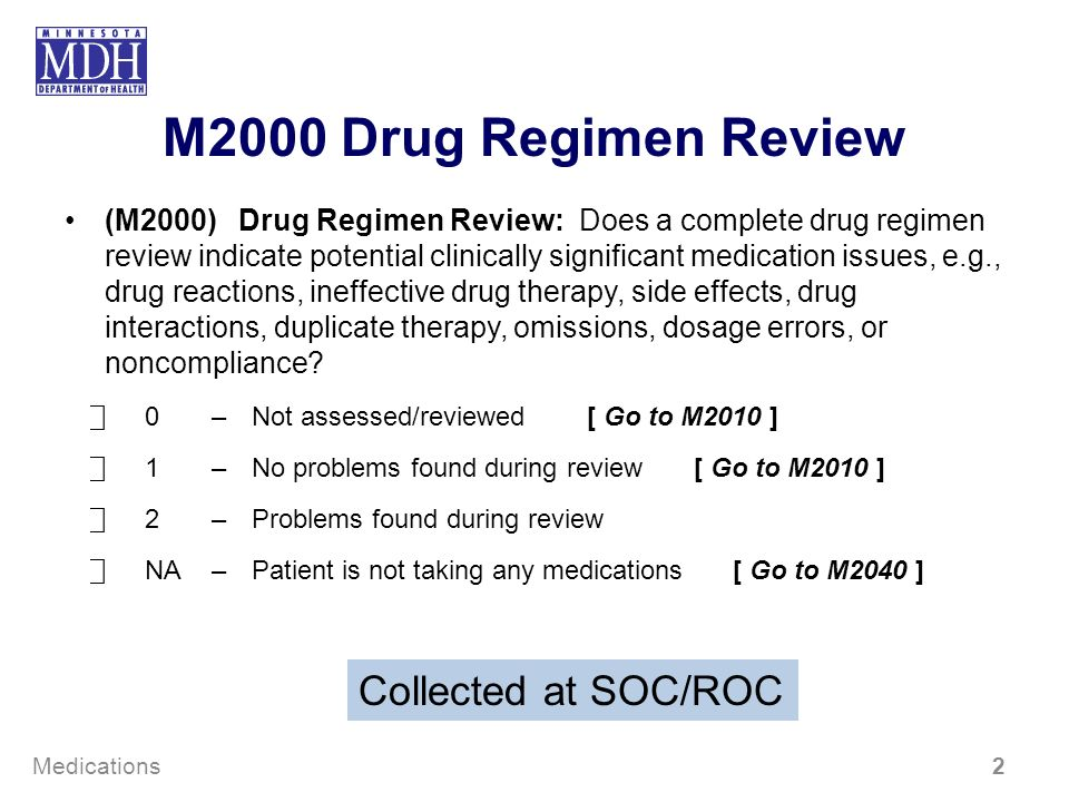 M2000 Drug Regimen Review Collected at SOC/ROC