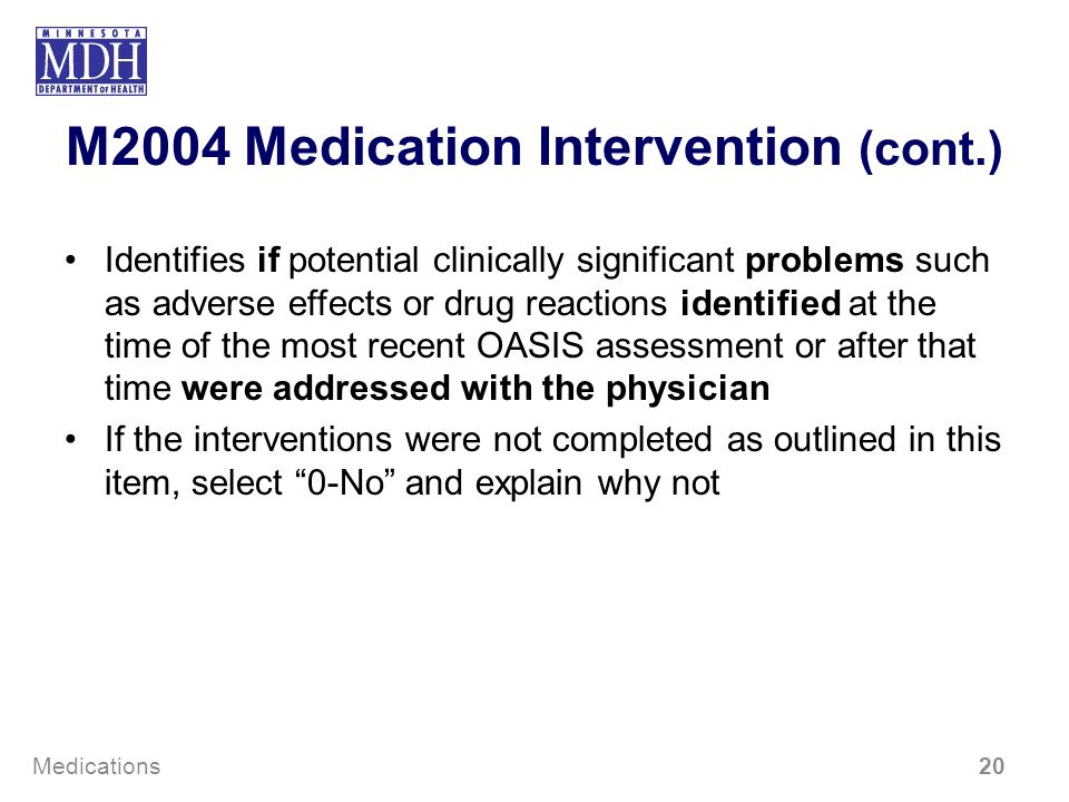 M2004 Medication Intervention (cont.)