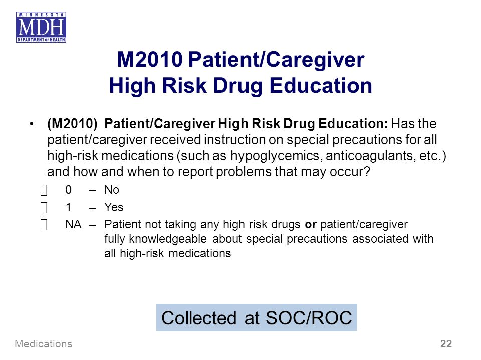 M2010 Patient/Caregiver High Risk Drug Education