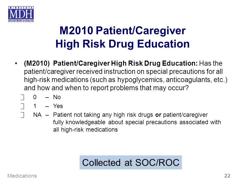 M2010 Patient/Caregiver High Risk Drug Education