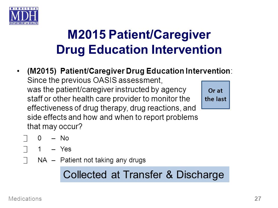 M2015 Patient/Caregiver Drug Education Intervention