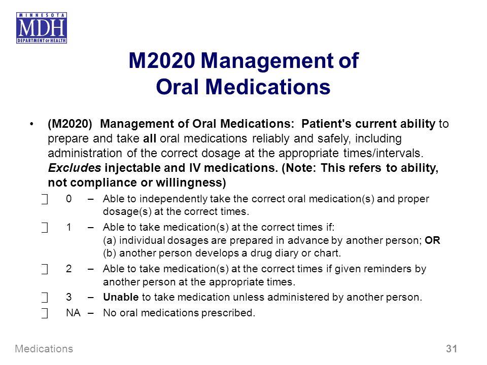 M2020 Management of Oral Medications