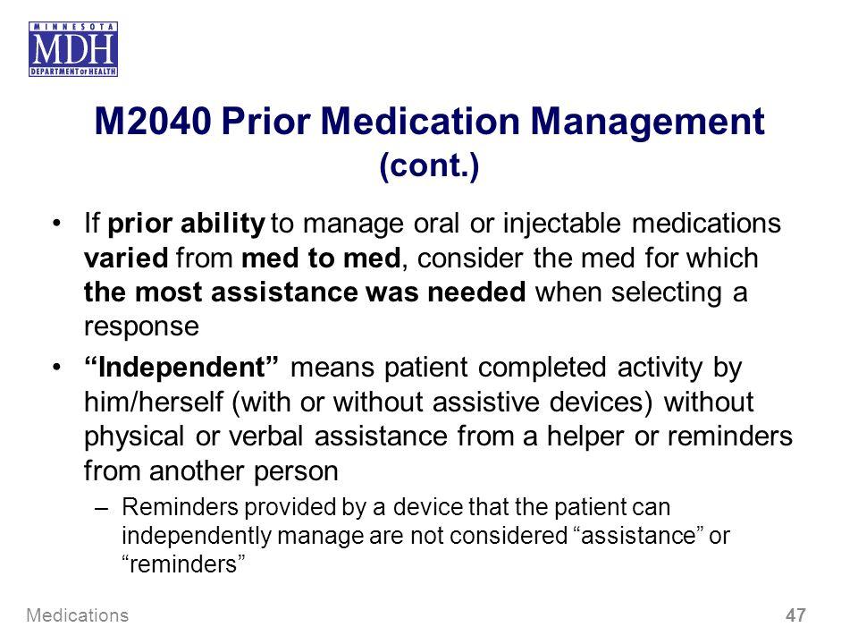 M2040 Prior Medication Management (cont.)