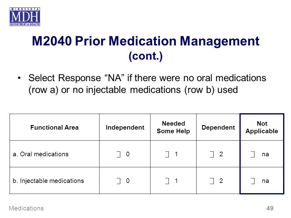 M2040 Prior Medication Management (cont.)