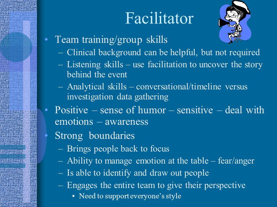 Facilitator Team training/group skills