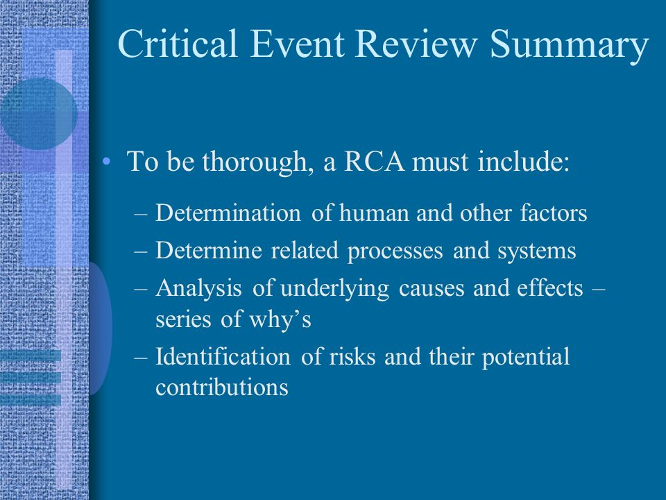 Critical Event Review Summary