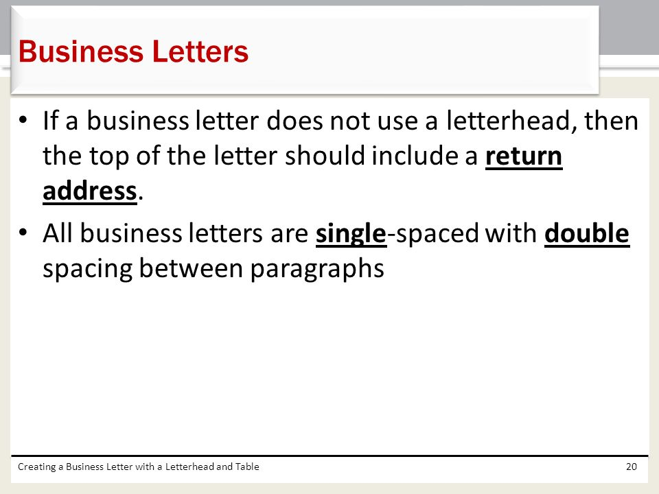 Chapter 3 Creating A Business Letter With A Letterhead And