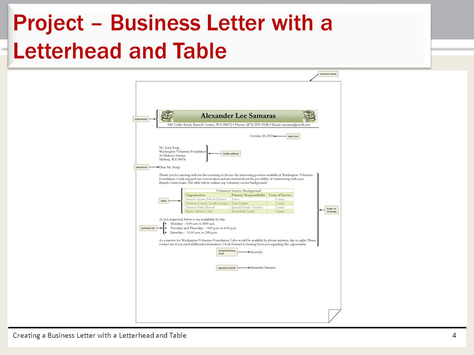business letter with letterhead