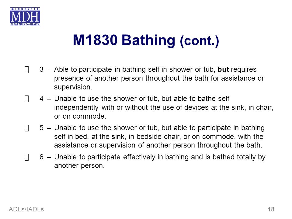 M1830 Bathing (cont.)