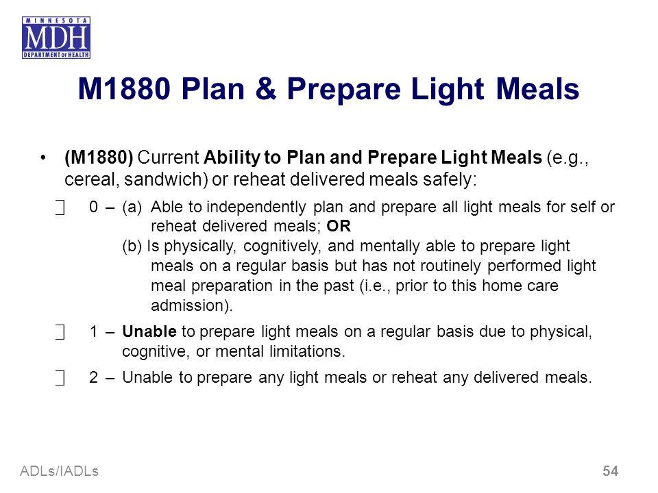 M1880 Plan & Prepare Light Meals