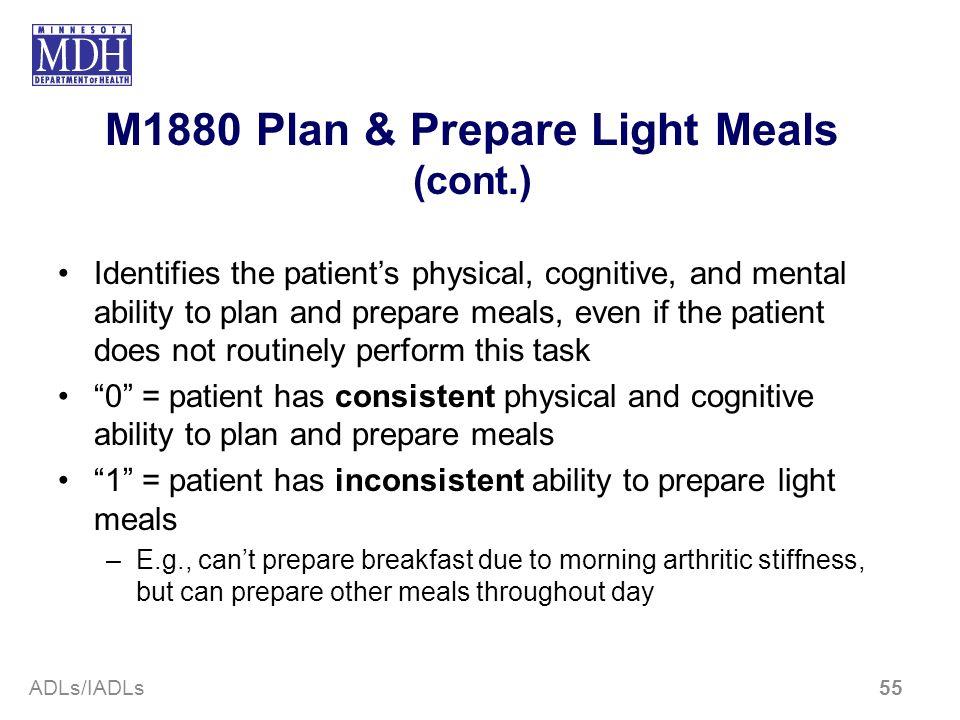 M1880 Plan & Prepare Light Meals (cont.)