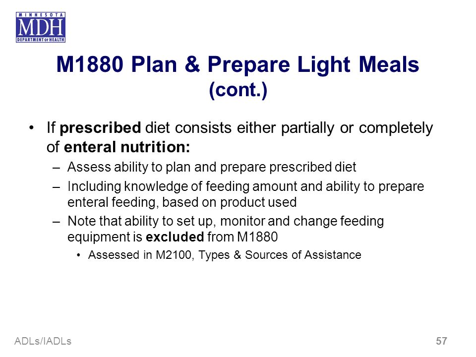 M1880 Plan & Prepare Light Meals (cont.)