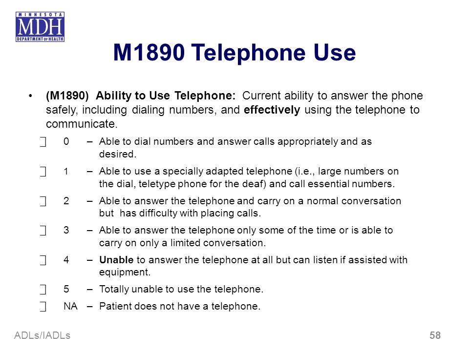 M1890 Telephone Use