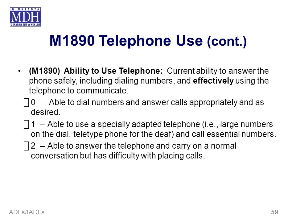 M1890 Telephone Use (cont.)