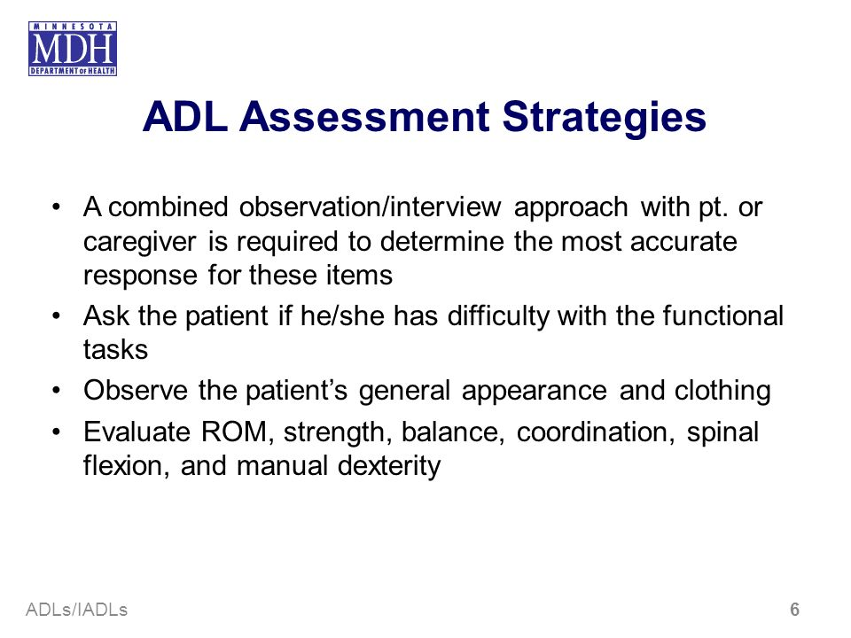 ADL Assessment Strategies