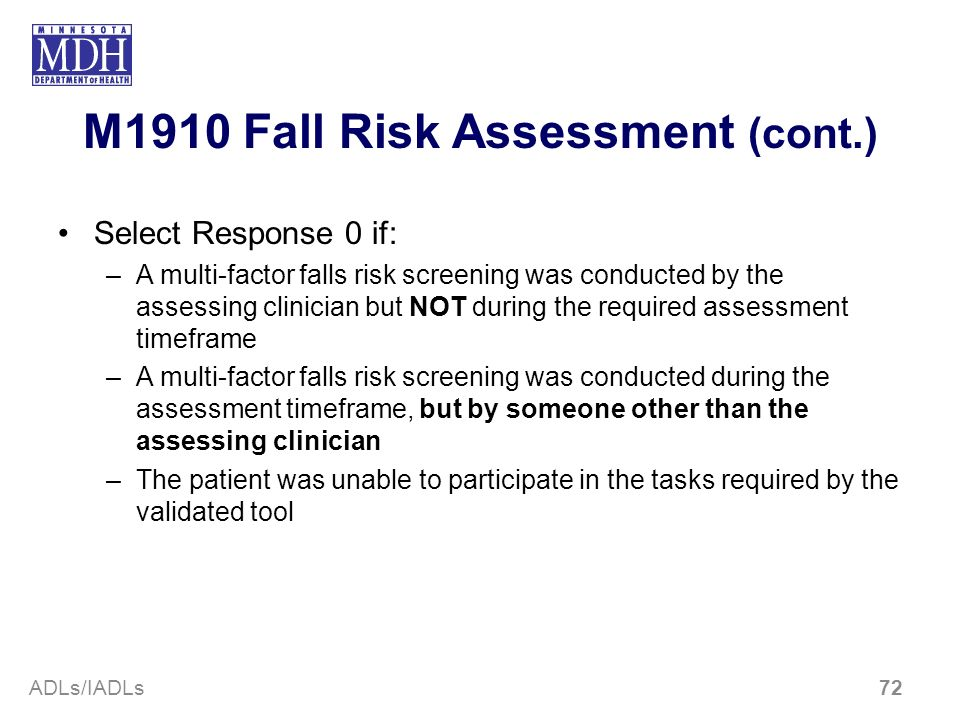 M1910 Fall Risk Assessment (cont.)