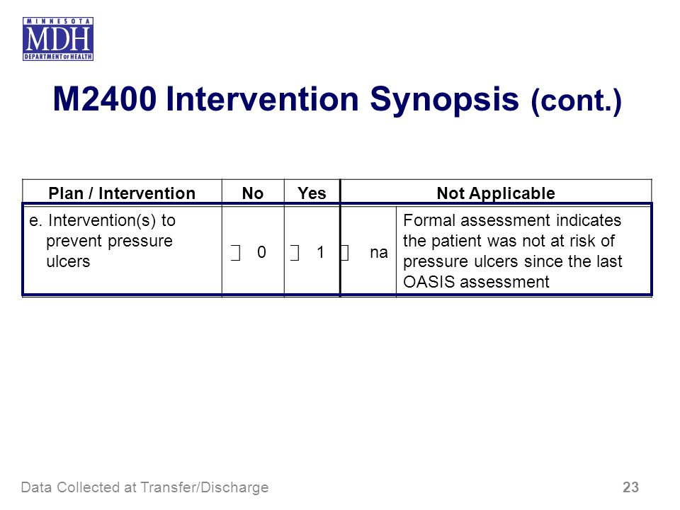 M2400 Intervention Synopsis (cont.)