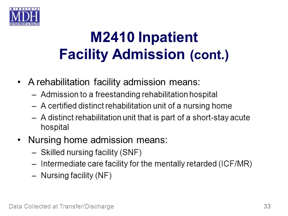 M2410 Inpatient Facility Admission (cont.)
