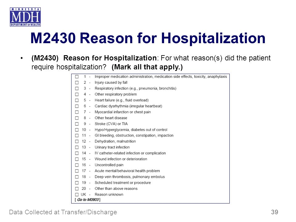 M2430 Reason for Hospitalization