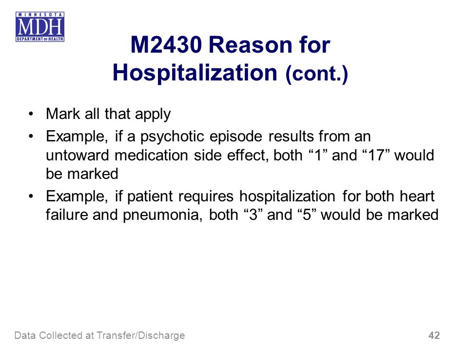 M2430 Reason for Hospitalization (cont.)