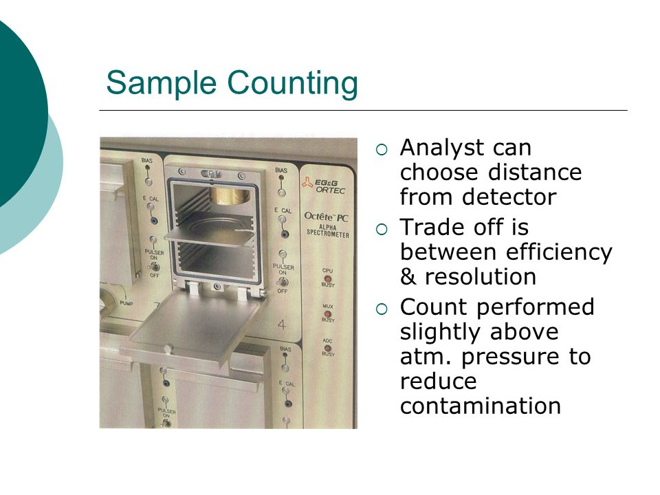 Sample Counting Analyst can choose distance from detector