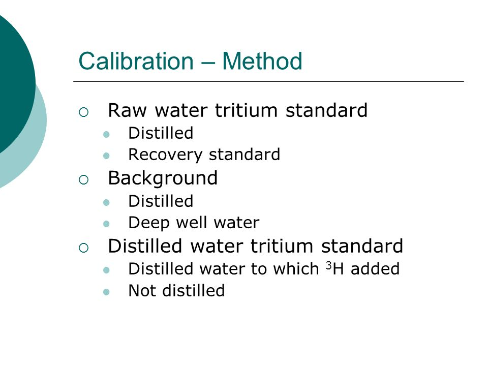 Calibration – Method Raw water tritium standard Background