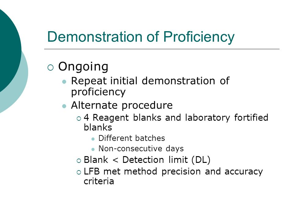 Demonstration of Proficiency