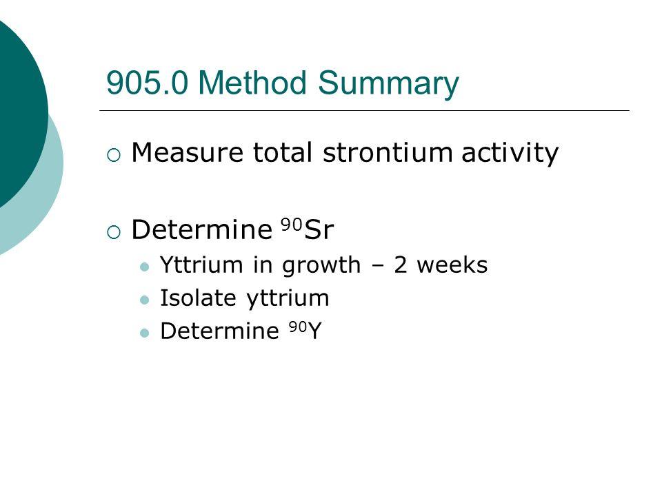 905.0 Method Summary Measure total strontium activity Determine 90Sr