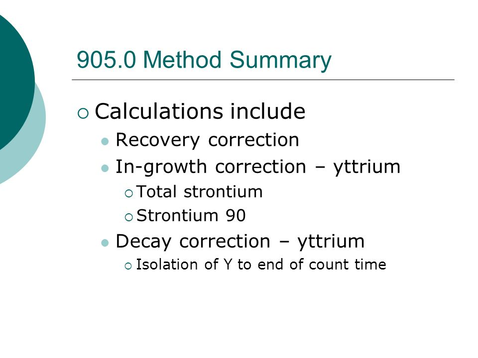 905.0 Method Summary Calculations include Recovery correction