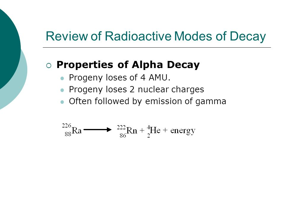 Review of Radioactive Modes of Decay