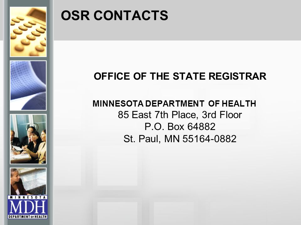 OFFICE OF THE STATE REGISTRAR
