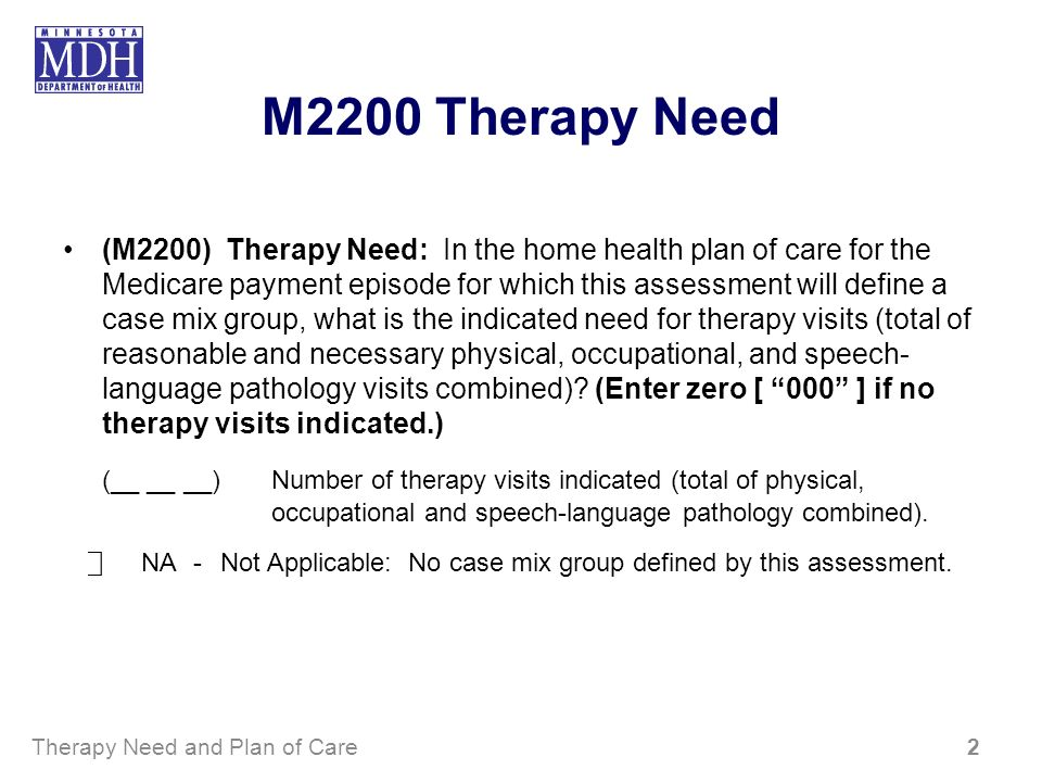 M2200 Therapy Need