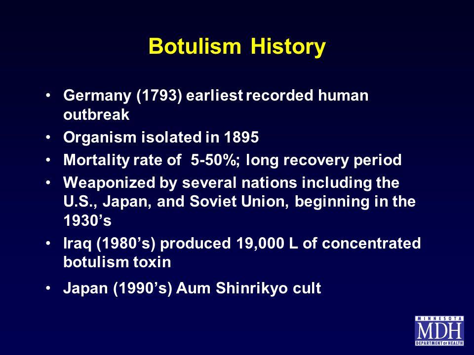 Botulism History Germany (1793) earliest recorded human outbreak