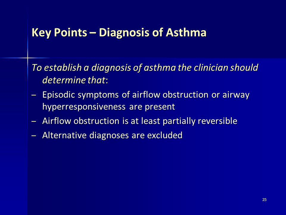 Key Points – Diagnosis of Asthma
