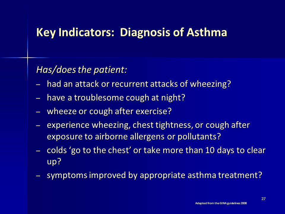 Key Indicators: Diagnosis of Asthma