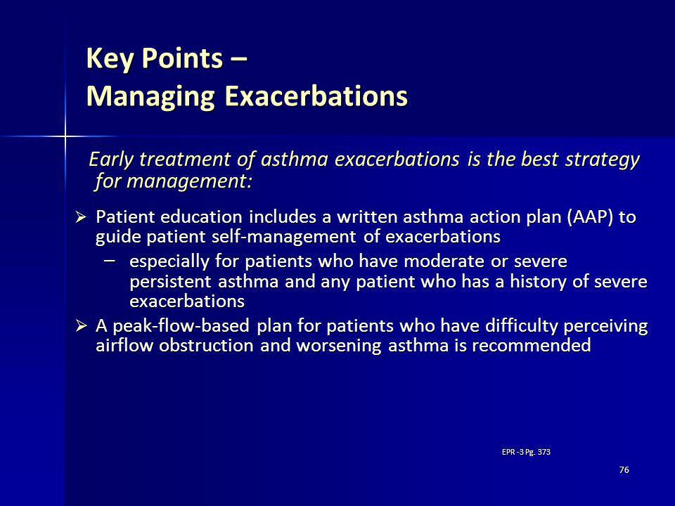 Key Points – Managing Exacerbations