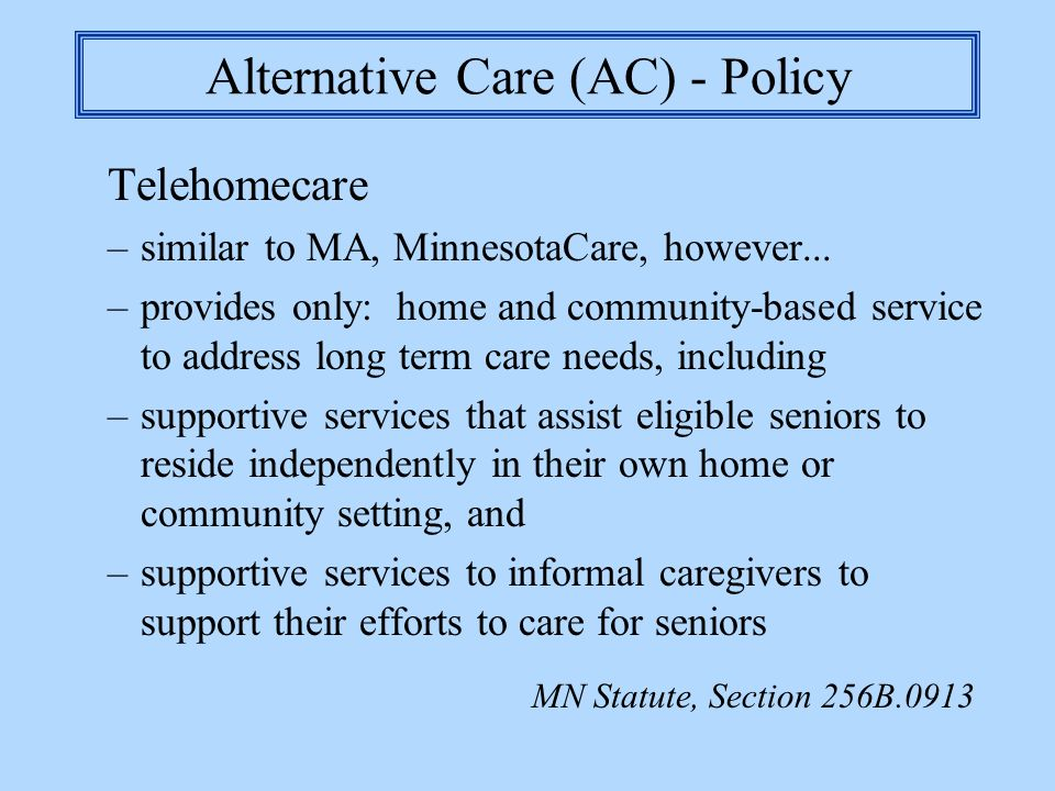 Alternative Care (AC) - Policy