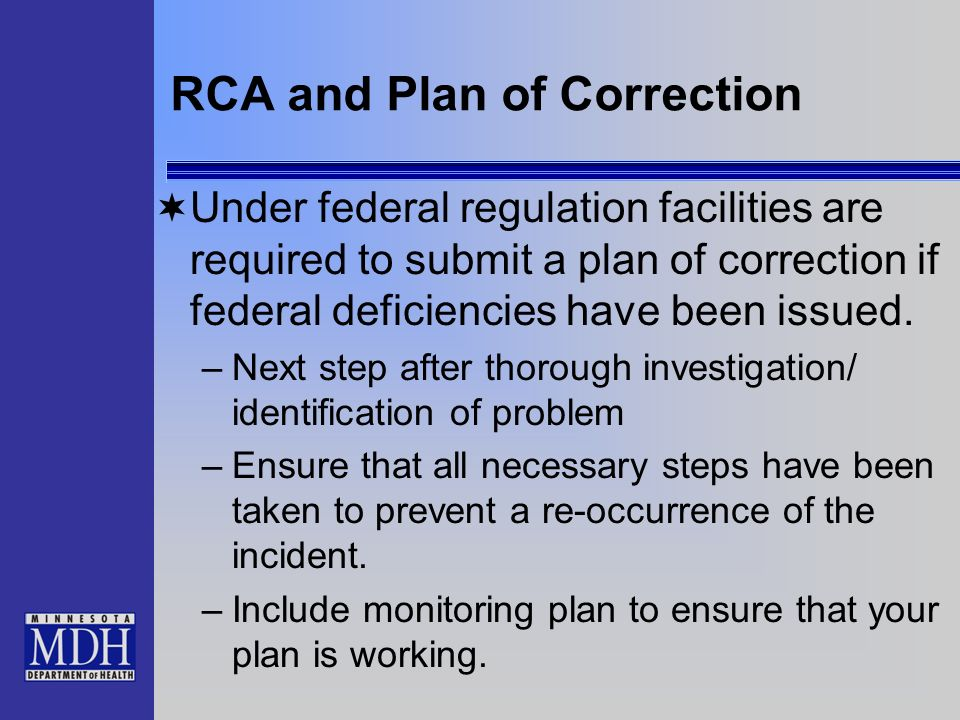 RCA and Plan of Correction