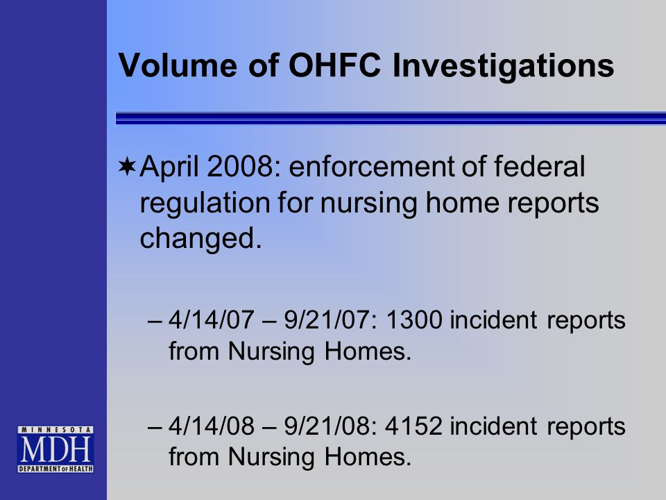 Volume of OHFC Investigations
