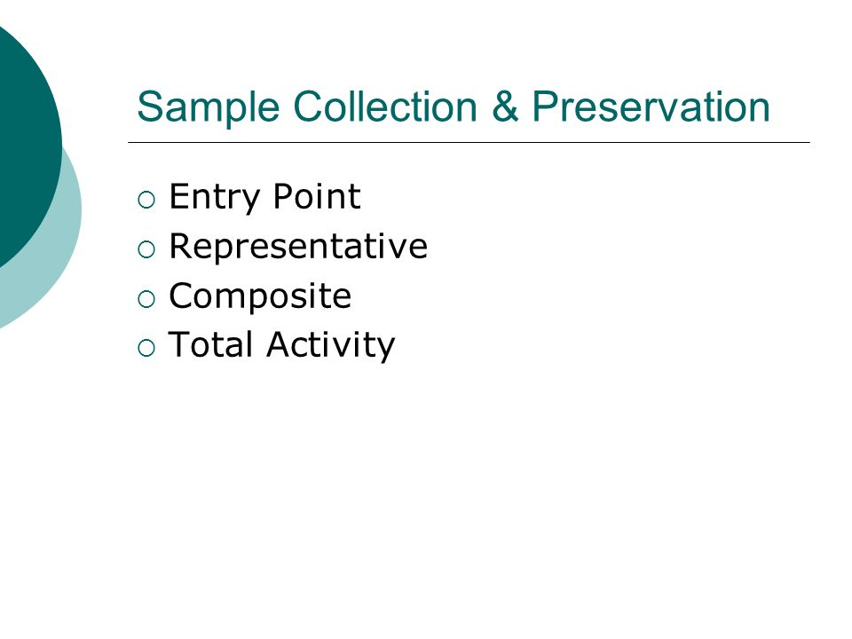 Sample Collection & Preservation