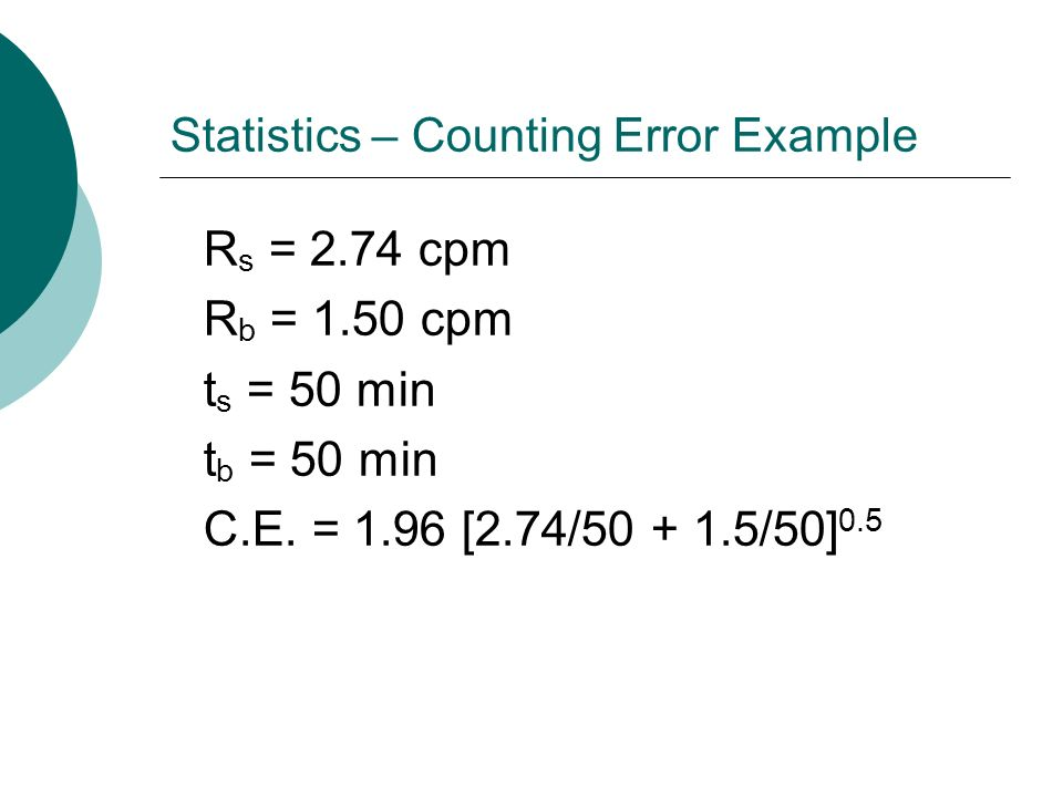 Statistics – Counting Error Example