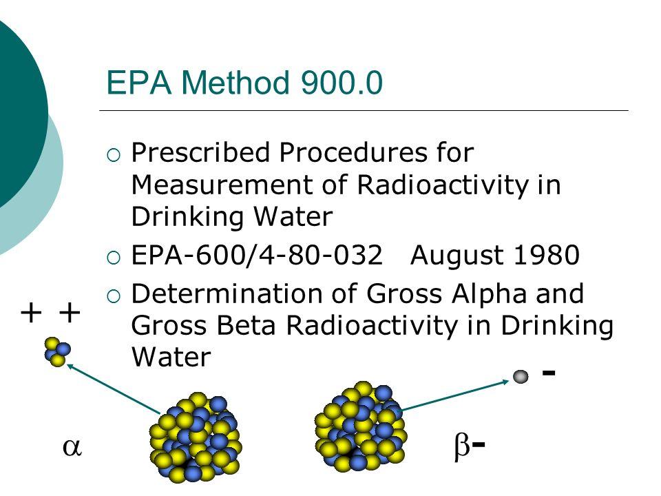 EPA Method 900.0 Prescribed Procedures for Measurement of Radioactivity in Drinking Water. EPA-600/4-80-032 August 1980.