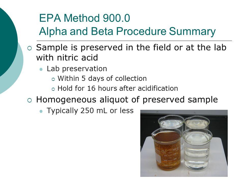 EPA Method 900.0 Alpha and Beta Procedure Summary