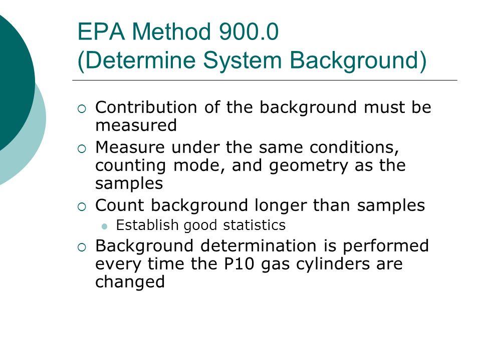 EPA Method 900.0 (Determine System Background)