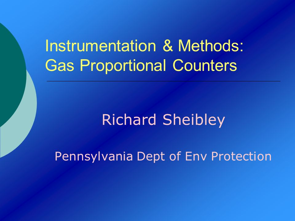 Instrumentation & Methods: Gas Proportional Counters
