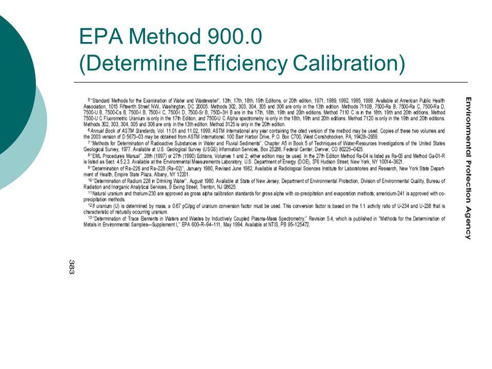 EPA Method 900.0 (Determine Efficiency Calibration)