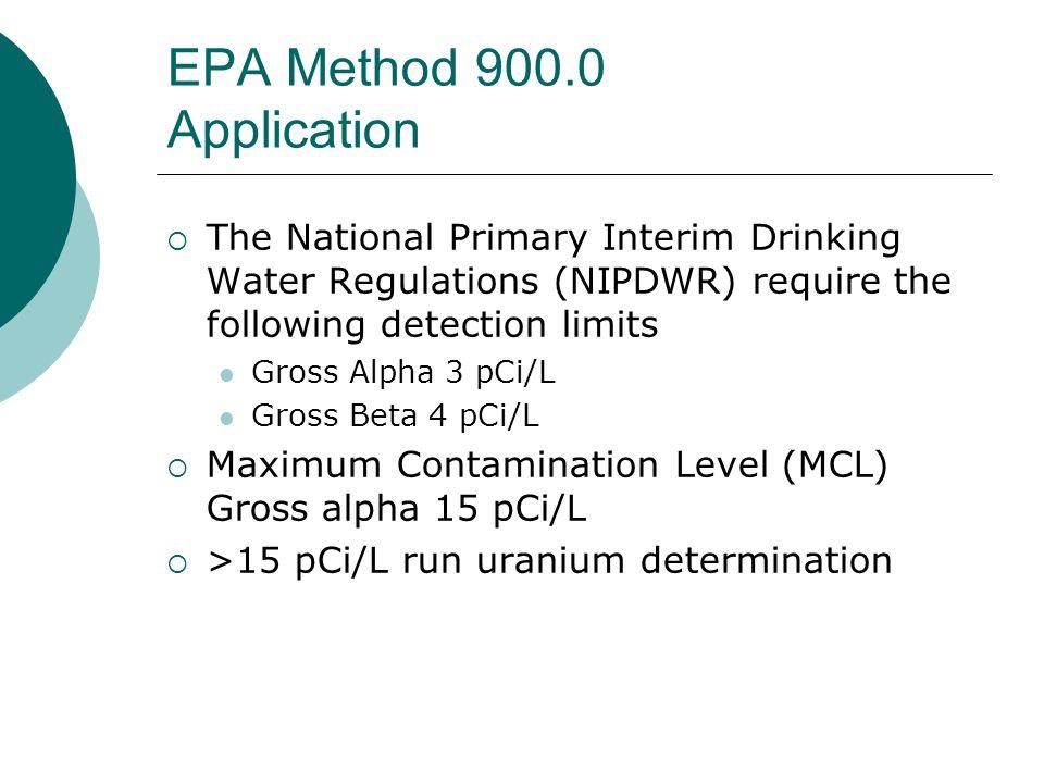 EPA Method 900.0 Application